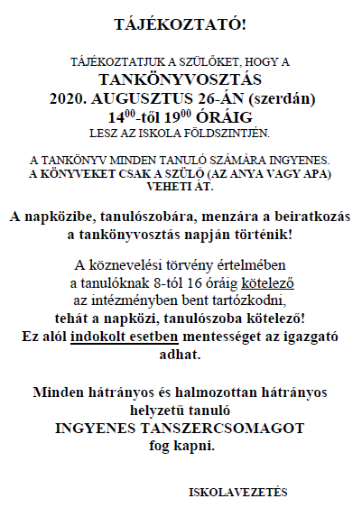 Tájékoztató 2020-2021