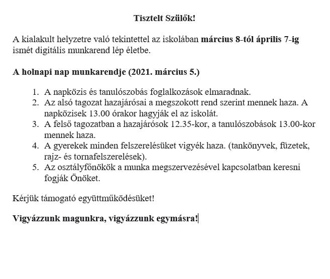 Tájékoztató 03.04.